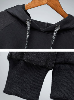 Casual Hooded Tied Letter Print Splicing Sweatshirt