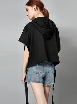 Trendy Embroidered Hooded Tied Loose Short Sleeve Sweatshirt