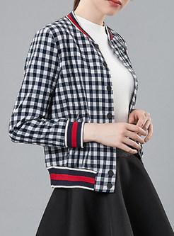 Stylish Plaid Sequined Single-breasted Short Coat