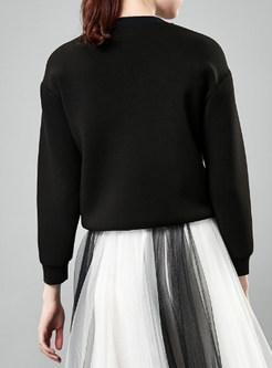 O-neck Letter Print Pullover Loose Sweatshirt