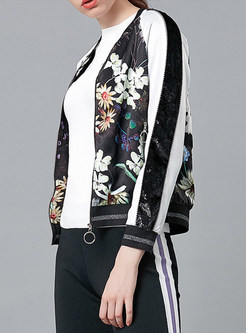 Color-blocked Print Zippered Pocket Coat