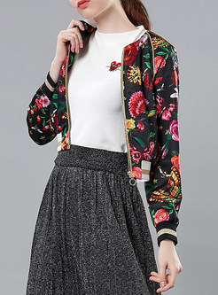 Casual O-neck Long Sleeve Zippered Print Coat