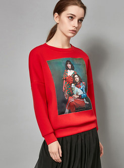 Red Print O-neck Loose Straight Sweatshirt