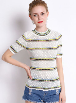 Casual Rainbow Striped Hollow Out Knitted T-Shirt
