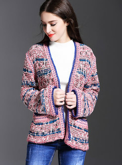 Stylish Color-block Striped Knitted Open Cardigan