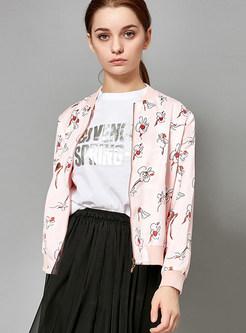 Pink Zip-up Zippered Print Slim Short Jacket