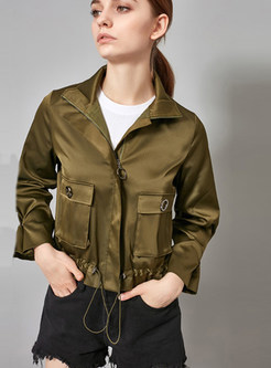 Solid Color Stand Collar Zippered Tied Short Coat