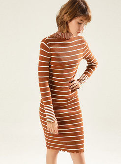 Chic Striped High Neck Sheath Knitted Dress