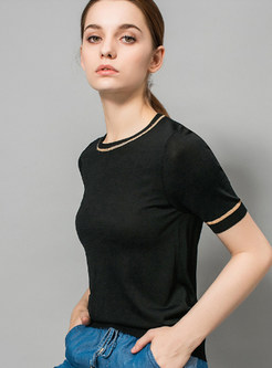 Stylish Color-blocked O-neck Sheath T-shirt