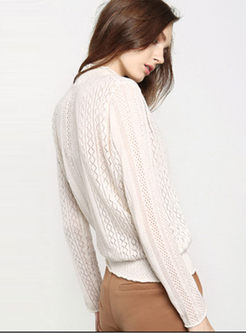 White Hollow Out Ruffled Collar Knitted Sweater
