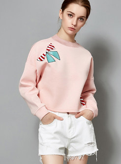 Casual O-neck Bowknot Embroidered Loose Short Sweatshirt