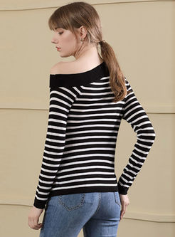Striped Off Shoulder Belted Asymmetric Knitted Sweater