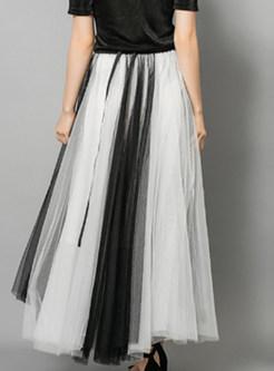 Mesh Elastic Waist Big Hem Maxi Skirt