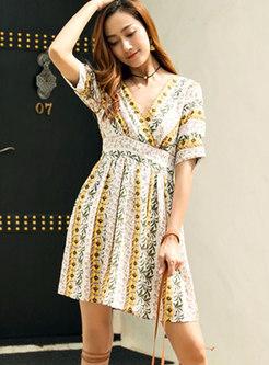 V-neck Self-tie Beach Mini Dress With Cutout-Back Detail