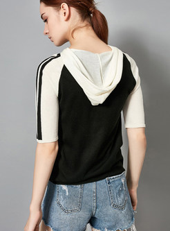 Stylish Color-blocked Hooded Half Sleeve Knitted Top