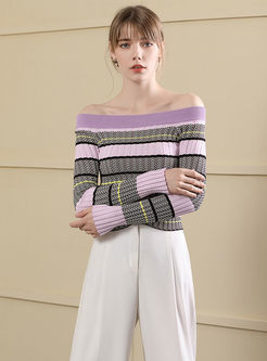 Striped Off The Shoulder Slim Short Sweater