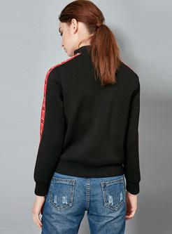 O-neck Color-blocked Zippered Pocket Short Coat
