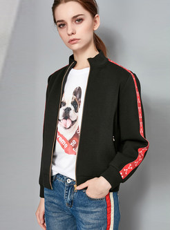 O-neck Color-blocked Zippered Short Jacket