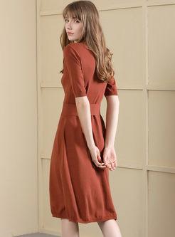 Elegant Pure Color Single-breasted Belted Slim Knitted Skater Dress