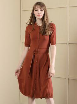 Pure Color Short Sleeve Belted Knitted Skater Dress