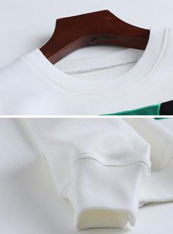White Trendy Cloth Splicing Loose Sweatshirt