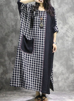 Plus Size Contrast-color Straight Maxi Dress With Pockets