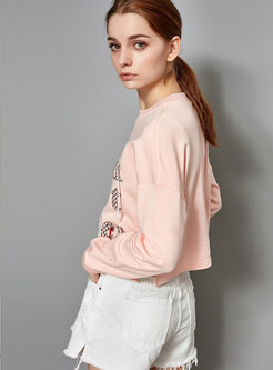 O-neck Long Sleeve Letter Print Short Sweatshirt