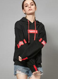 Black Hooded Tied Letter Print Loose Sweatshirt