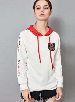 Fashion Color-blocked Hooded Tied Sweatshirt