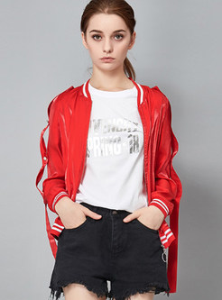 Red Ribbon Zipper Slim Jacket With Pockets