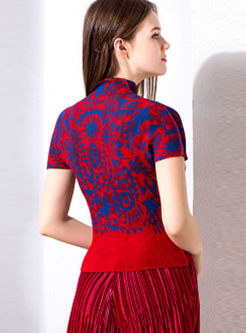 Color-blocked Print High Neck Short Sleeve Slim T-shirt