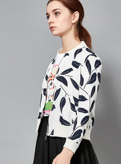 O-neck Leaves Print Zippered Short Jacket