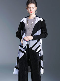 Stylish Striped Splicing Asymmetric Coat