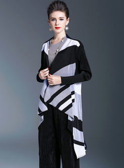 Striped Splicing Asymmetric Pleated Coat