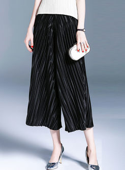 Black High Waist Pleated Wide Leg Pants