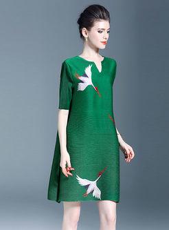 Elegant Print Half Sleeve Shift Dress