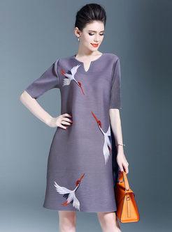 Loose Print Half Sleeve Shift Dress
