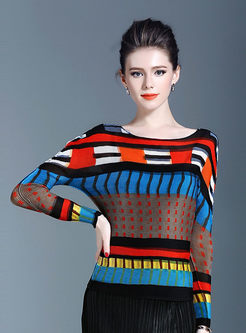 Color-blocked O-neck Bat Sleeve Slim T-shirt