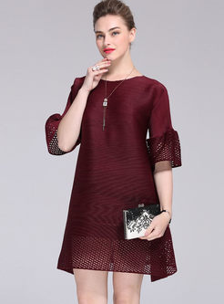 Loose Splicing Hollow Out Flare Sleeve Mini Dress