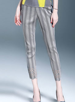 Casual Striped High Waist Hollow Out Slim Pencil Pants