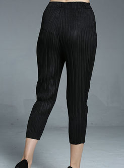 Trendy Pure Color Elastic Waist Harem Pants