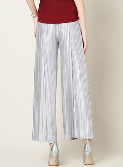 Stylish Solid Color Elastic Waist Pleated Wide Leg Pants