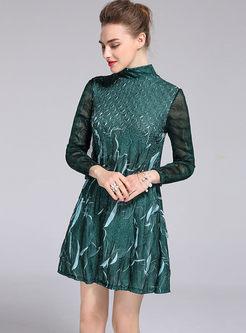 Ethnic Print Splicing High Neck Long Sleeve Mini Dress