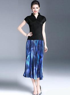 Chiffon Color-Blocked Print Elastic Waist Pleated Beach Skirt