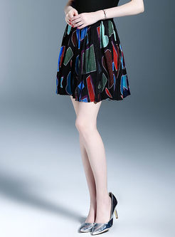 Print Elastic Waist Pleated A Line Mini Skirt