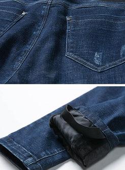 Deep Blue Elastic Waist Distressed Denim Pencil Pants