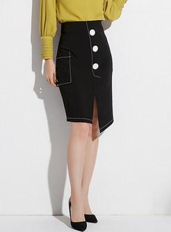 Fashion Buttoned Front Asymmetric Hem Wrap Skirt