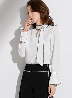 Stylish V-neck White Perspective Chiffon Blouse