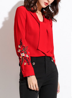Stylish Red V-neck Embroidered Chiffon Blouse