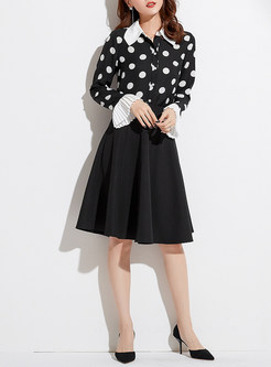 Chic Splicing Polka Dot Flare Sleeve Blouse